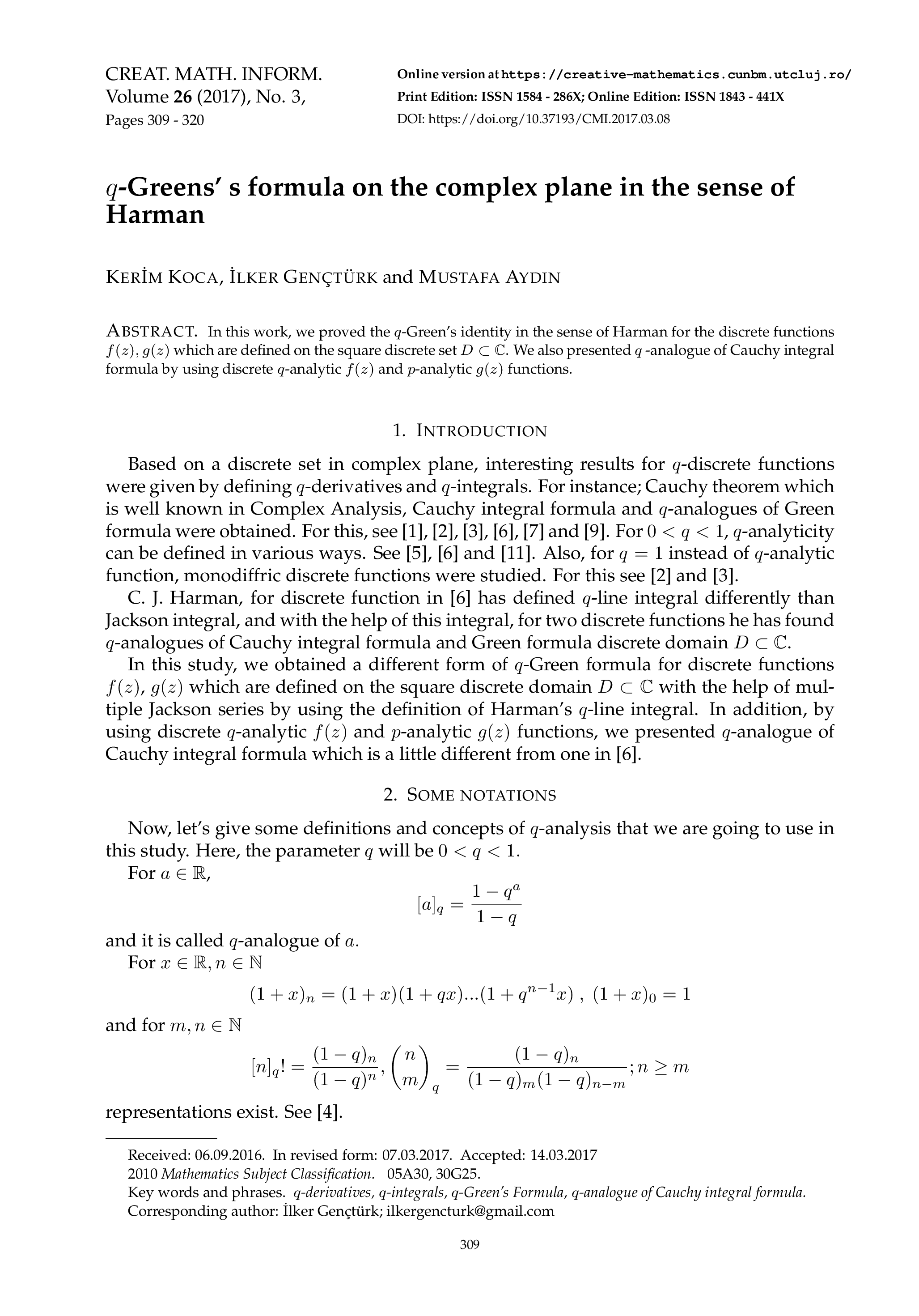 ... q-Greens' s formula on the complex plane in the sense of Harman ...